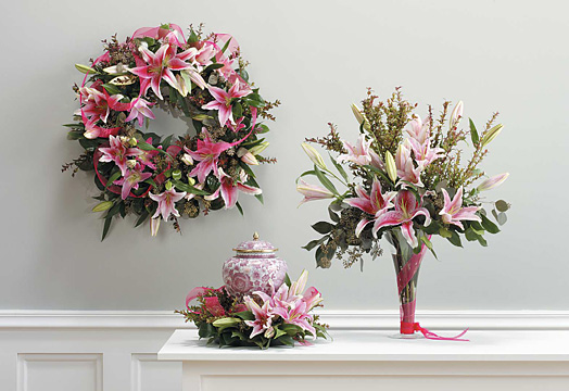 Serenity Wreath, Vase Arrangment & Urn Wreath