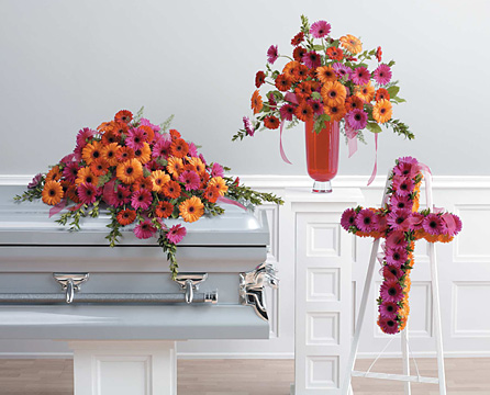 Brighter Days Casket Spray, Arrangement and Stand
