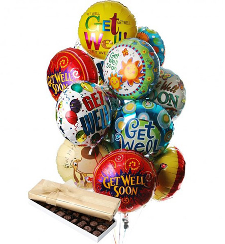 Get Well Balloon Bouquet & Chocolates